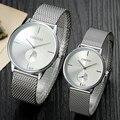 Moda simples e elegante top de luxo da marca chenxi relógios das mulheres dos homens de malha de aço inoxidável banda dial relógio de quartzo-relógio fino homem senhora