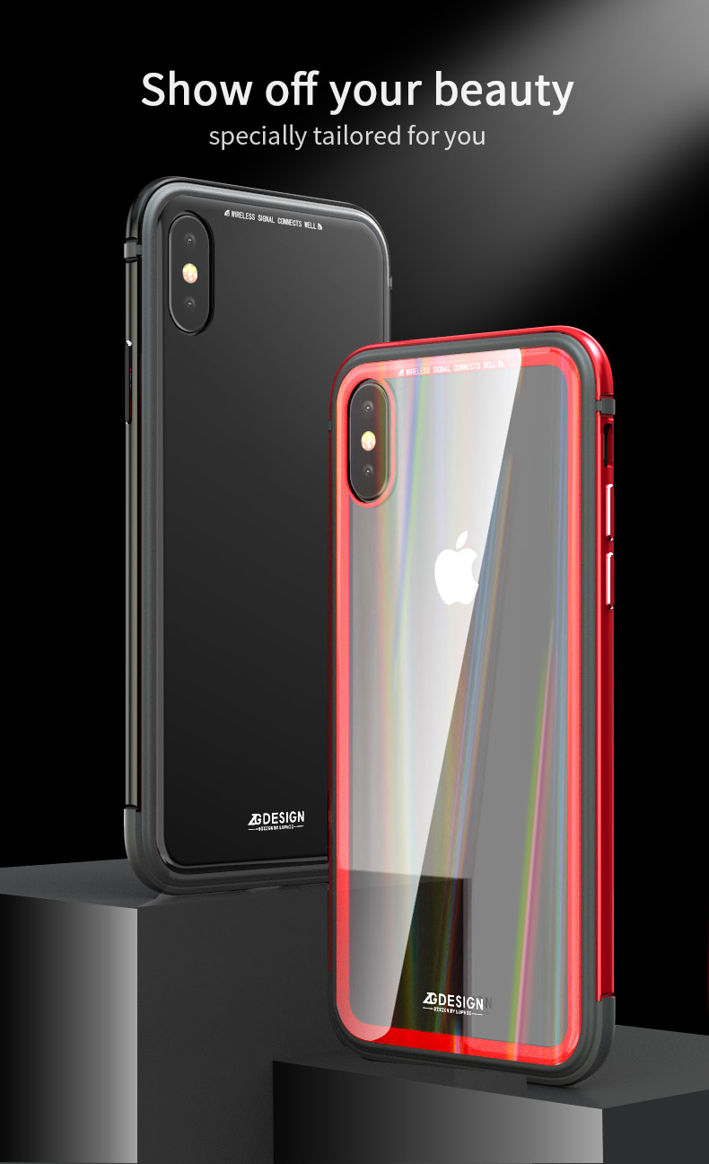 LUPHIE Aurora Laser Case Cover For iPhone X 7 8 Plus clear glass case  (5)