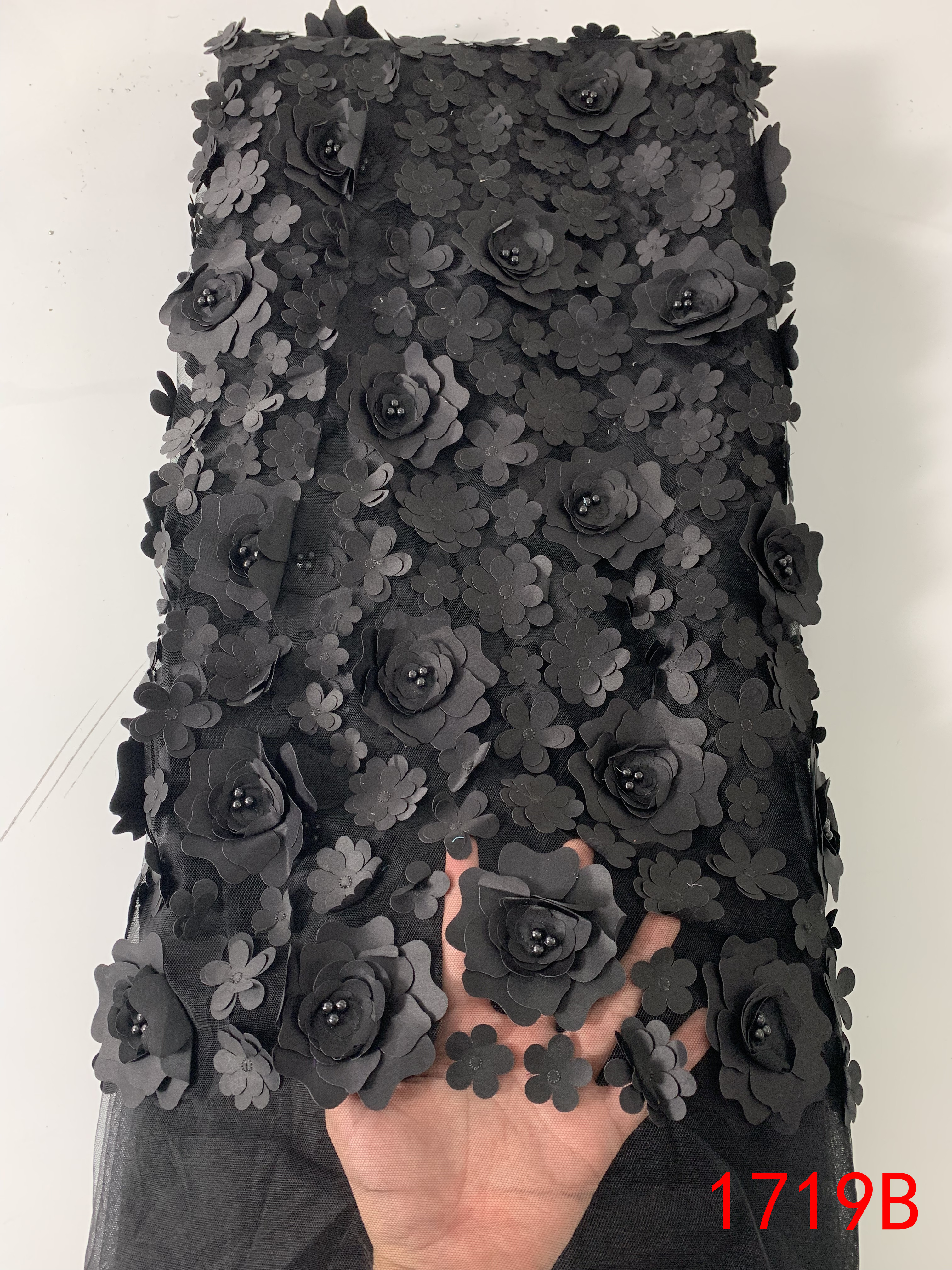 2019 3D Lace Fabric High Quality African Lace Fabric French Applique Tulle Net With Beads For Party Dresses Black KS1719B
