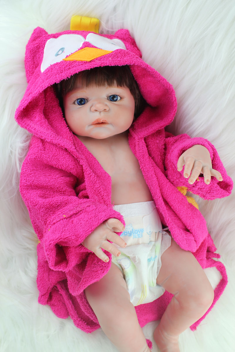 55cm Full Silicone Body Reborn Baby Girl Doll Toys Lifelike Princess Newborn Toddler Babies Dolls Bathe Toy Play House Toy full silicone body reborn baby doll toys lifelike 55cm newborn boy babies dolls for kids fashion birthday present bathe toy