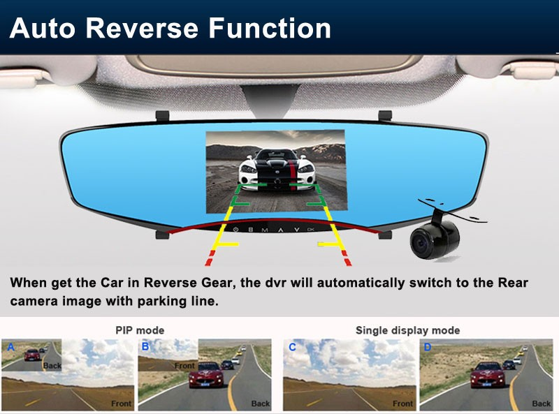 ФОТО Hight quality Dual lens Camera  5.0 inch Screen car video recorder Mirrordvr rearview parking Motion Detection camera car mirror