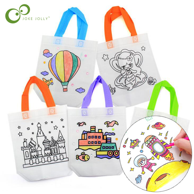 $ US $3.76 10Pcs Antistress Puzzles Educational Toy for Children DIY Eco-friendly Graffiti Bag Kindergarten Hand Painting Materials GYH