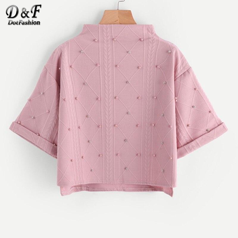 Dotfashion Mock Neck Beading Embossed Cute Sweatshirt Female Pink High Low Pullovers Autumn Half Sleeve Sweatshirt