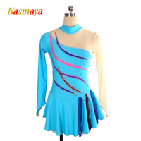 Nasinaya Figure Skating Dress Customized Competition Ice Skating Skirt for Girl Women Kids Gymnastics Performance Colour Stripes