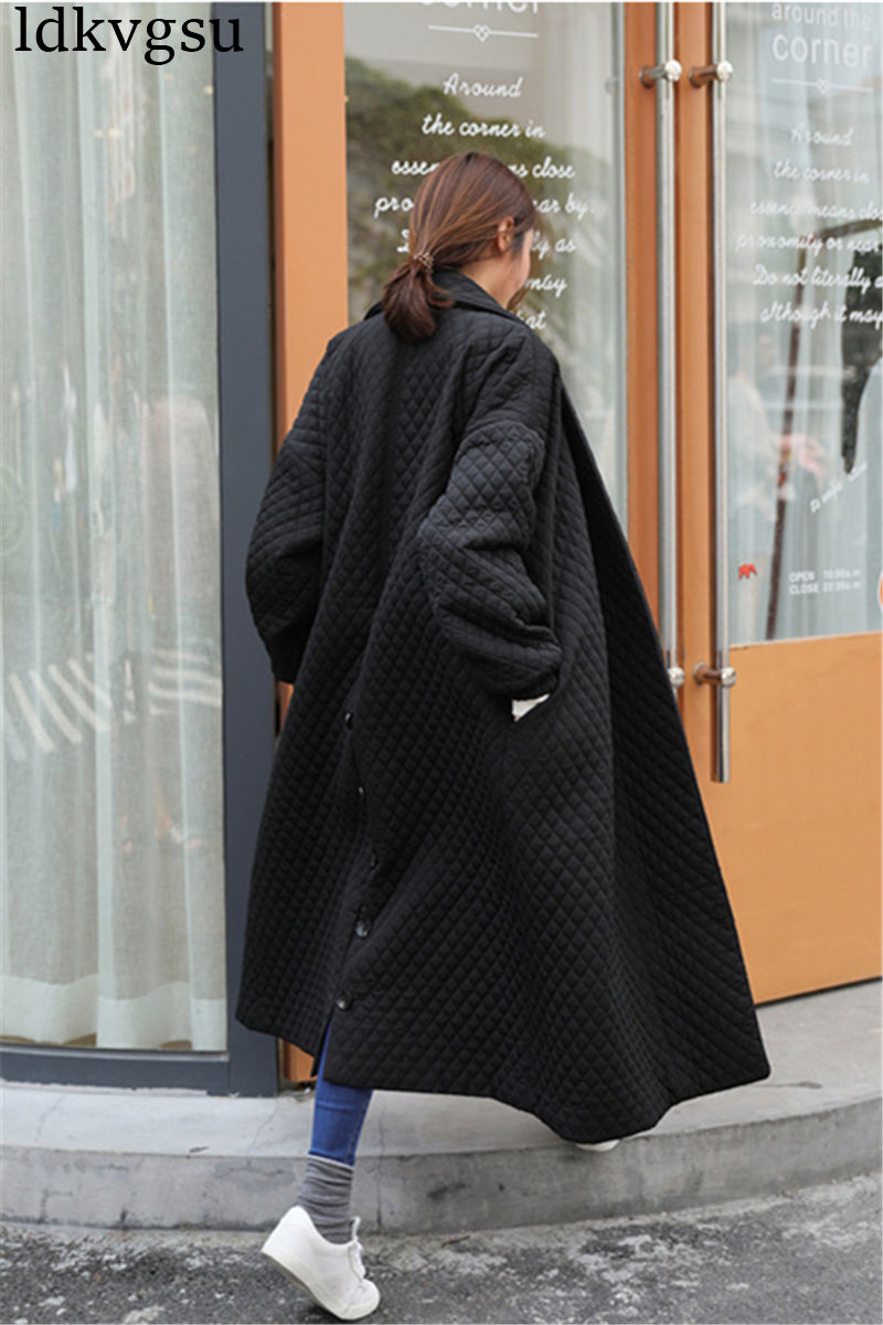 2019 Winter Black Long Coat Women Outwear Jackets High Quality Single Breasted Fashion Basic Loose Oversize Women Parka Jacket