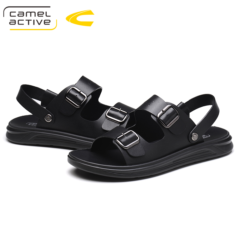 Camel Active New Summer Outdoor Beach Slide Sandals Leather Shoes Luxury Brand Fashion Breathable Casual Male Footwear For Men