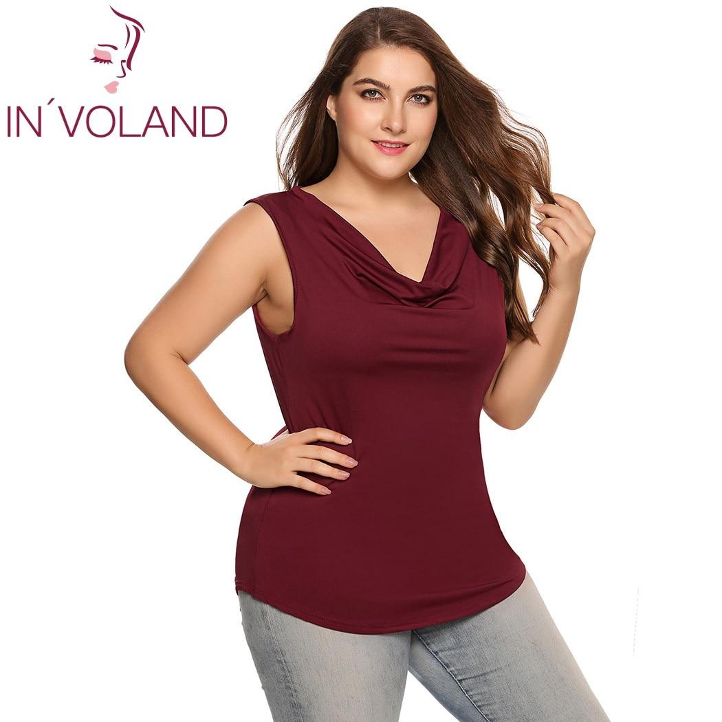 IN'VOLAND Femmes T-Shirts Tops D'été Plus La Taille De Mode Drapé Cou Sans Manches Solide Dames Réservoir T-shirt Femme T-shirts Surdimensionné 5XL