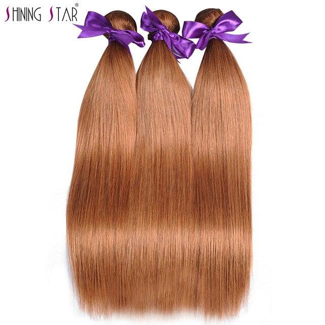 Gold Blonde 3 Bundles Brazilian Straight Human Hair Color 30 Hair