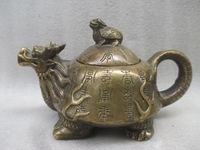 China's old copper manual sculpture dragon turtle mother and child the teapot