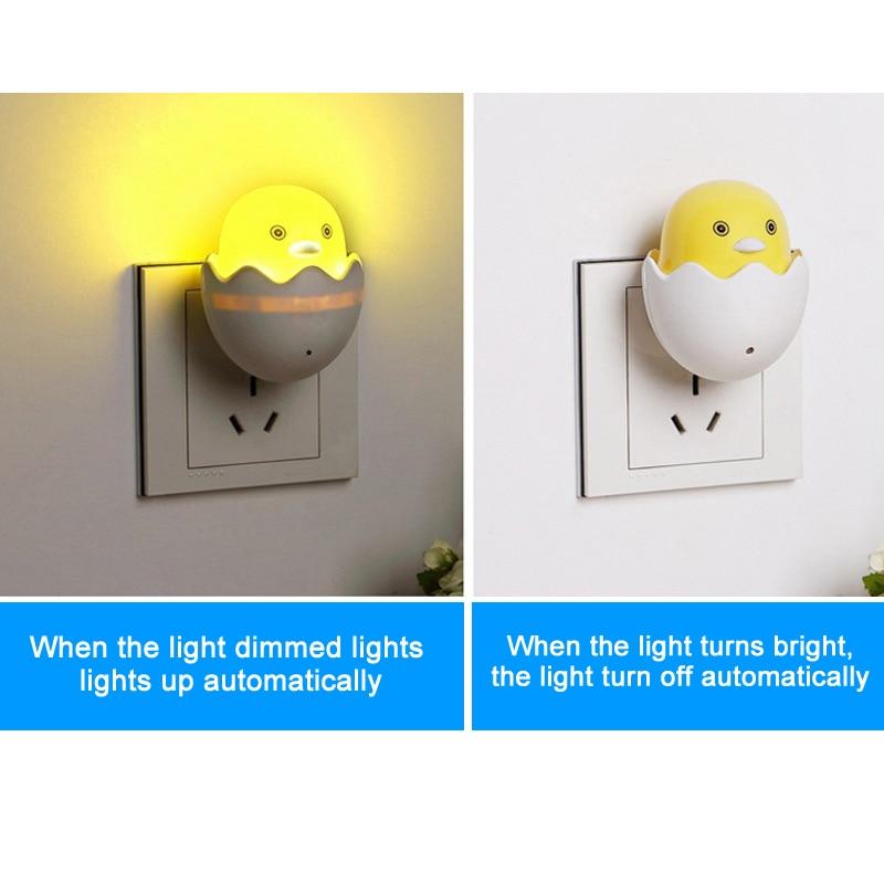 New EU Plug Duck AC110-220V Wall Socket Light-control Sensor LED Night Light Bedroom lamp