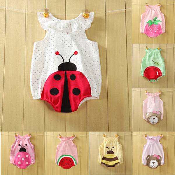 4ab90950120 baby rompers unisex baby clothing summer cotton boys girls baby triangle  Rompers Fruit bear Teddy newborn clothes  1006 on Aliexpress.com