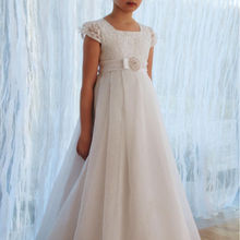 Новое поступление года; кружевные платья с цветочным узором и короткими рукавами для девочек Vestido de Comunion; платья для первого причастия для девочек 10-12 лет
