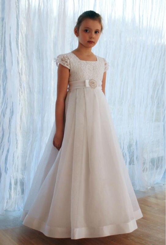 2018 New Arrival Short Sleeve Lace   Flower     Girl     Dresses   Vestido de Comunion First Communion   Dresses   for   Girls   10 12 Pageant