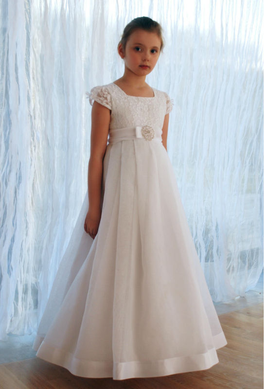 2019 new arrival short sleeve lace flower girl dresses
