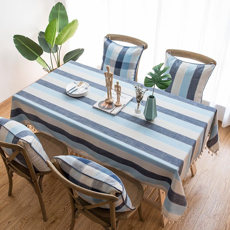 Blue Stripe Waterproof Kitchen Table Cloth Tablecloth Scald Proof Linen Tassel Rectangular Tablecloths Fringe Dining Table Cover