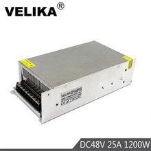 إخراج واحد تحويل التيار الكهربائي 1200 واط 48 فولت 25A محول 110 فولت 220 فولت التيار المتناوب إلى DC48V SMPS ل مصباح ليد محرك خطوي بالتحكم الرقمي بالكمبيوتر الدوائر التلفزيونية المغلقة