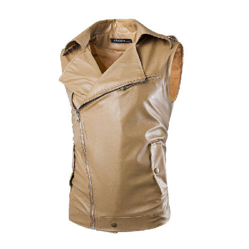 2016 New Men's Casual Oblique Zipper Slim Short Washed Lapel Sleeveless Casual Leather Motorcycle Pima Vest Plus Size 13M0154