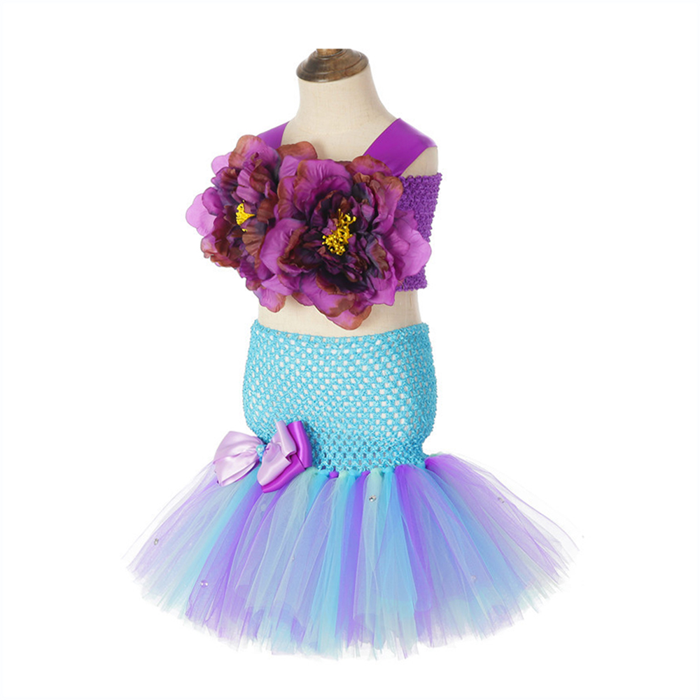 Little Princess Mermaid Girls Tutu Dress with Fish Tail Girls Dresses Age 13 14 Years Old Girls Mermaid Wedding Dresses 3 Pieces in Dresses from Mother Kids