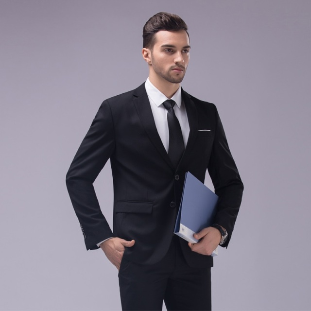 Custom Made Dark Blue And Black Suit Tailor Wedding Slim