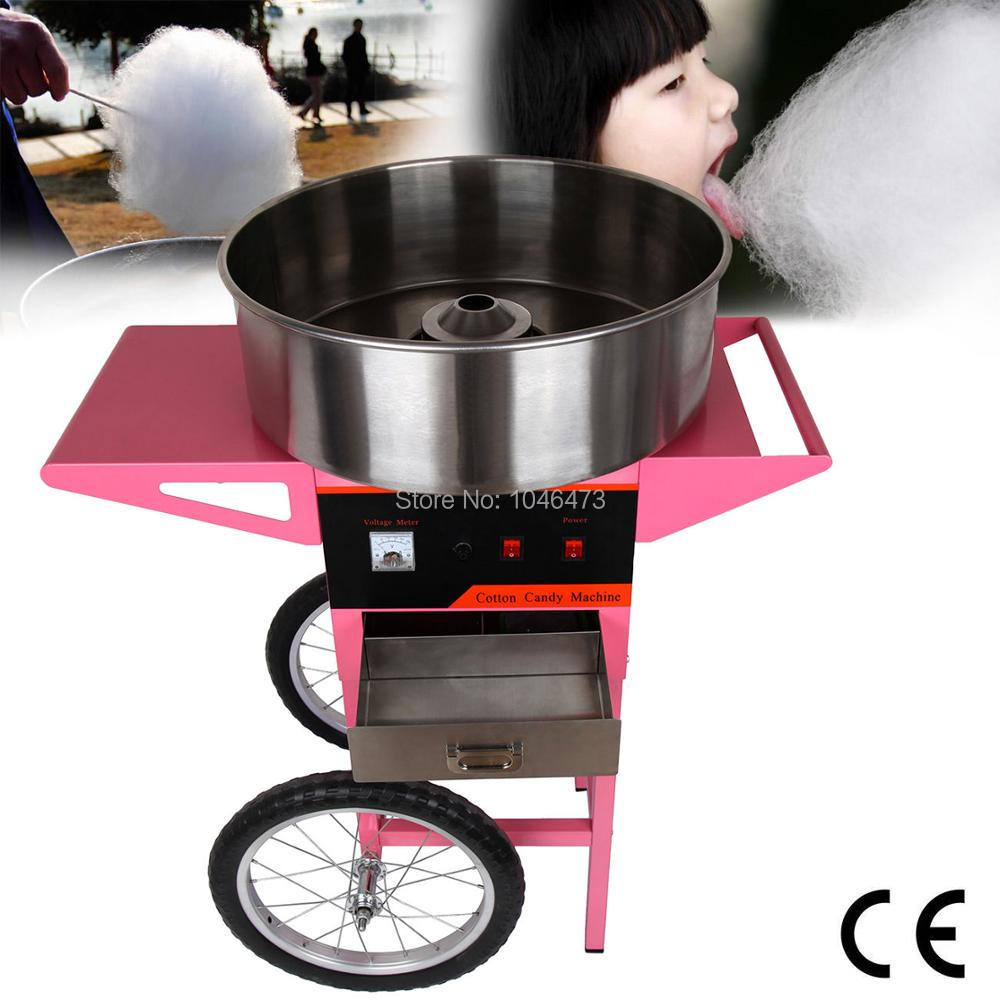(Ship from EU) Commercial Pink Portable 1100W Electric Cotton Candy Fairy Floss Supply Maker Machine with Cart 1030w electric commercial cotton candy maker fairy floss machine stainless steel pink