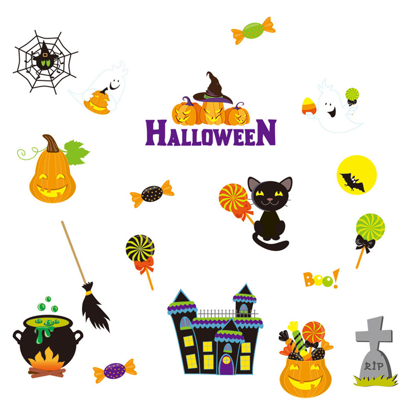 Wall Stickers Halloween Static Electricity Removable Wall Stickers Home Room High Quality Hot Marketing HA40