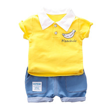Newborn Baby Boy Summer Clothes Set Short Sleeve T-shirt & Jeans Shorts 2pcs Boys Baby Suit Toddler Cotton Sports Casual Outfit 2pcs toddler kids baby boy girl clothes set 2017 summer short sleeve cotton t shirt top shorts hot pant outfit children clothing