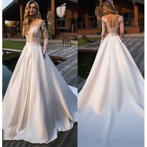LORIE Wedding Dress 2019 Long Sleeves Beach Bride Dress Appliques Lace  Sexy See Through Back White Ivory Wedding Gown Lahore