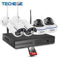 Techege 960P Wireless CCTV System 4CH HD WiFi NVR Kit 1 3MP Outdoor Vandalproof Dome IP