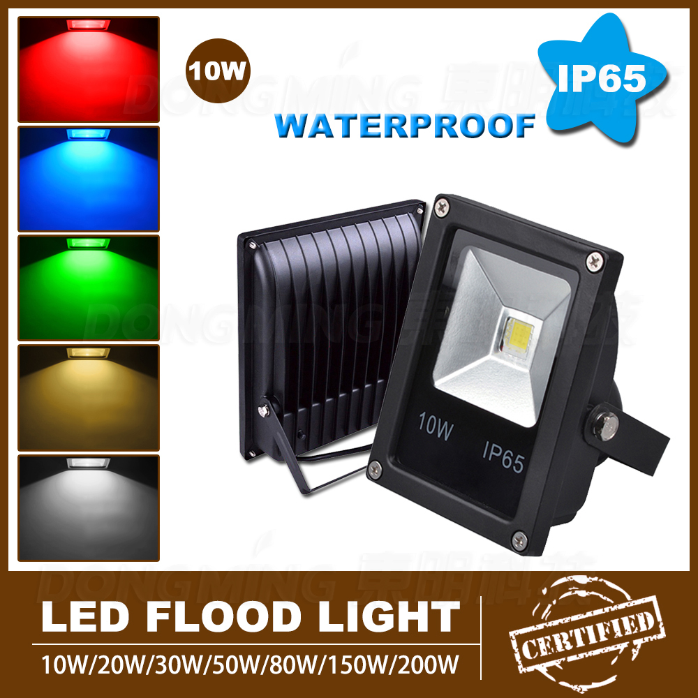 Led Flood Light 10W outdoor waterproof IP65 DC12V black cover RGB ...