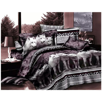 4pcs Hot Sale 3D Print Wolf Bedding Sets Queen Size King Size Duvet Cover Set Wolves Animal Bedding Solid Color