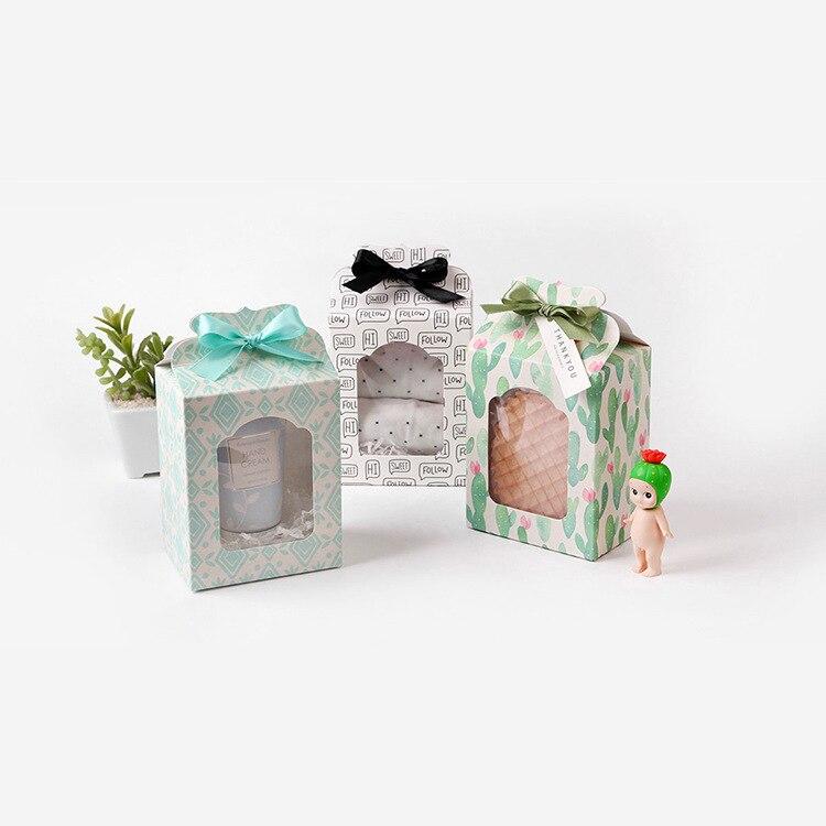 50 шт 9,8*6,7*12,5 см белая ПВХ оконная Упаковка Подарочная бумажная Коробка конфета кекс печенье упаковка бумажная коробка с пластиковым окном