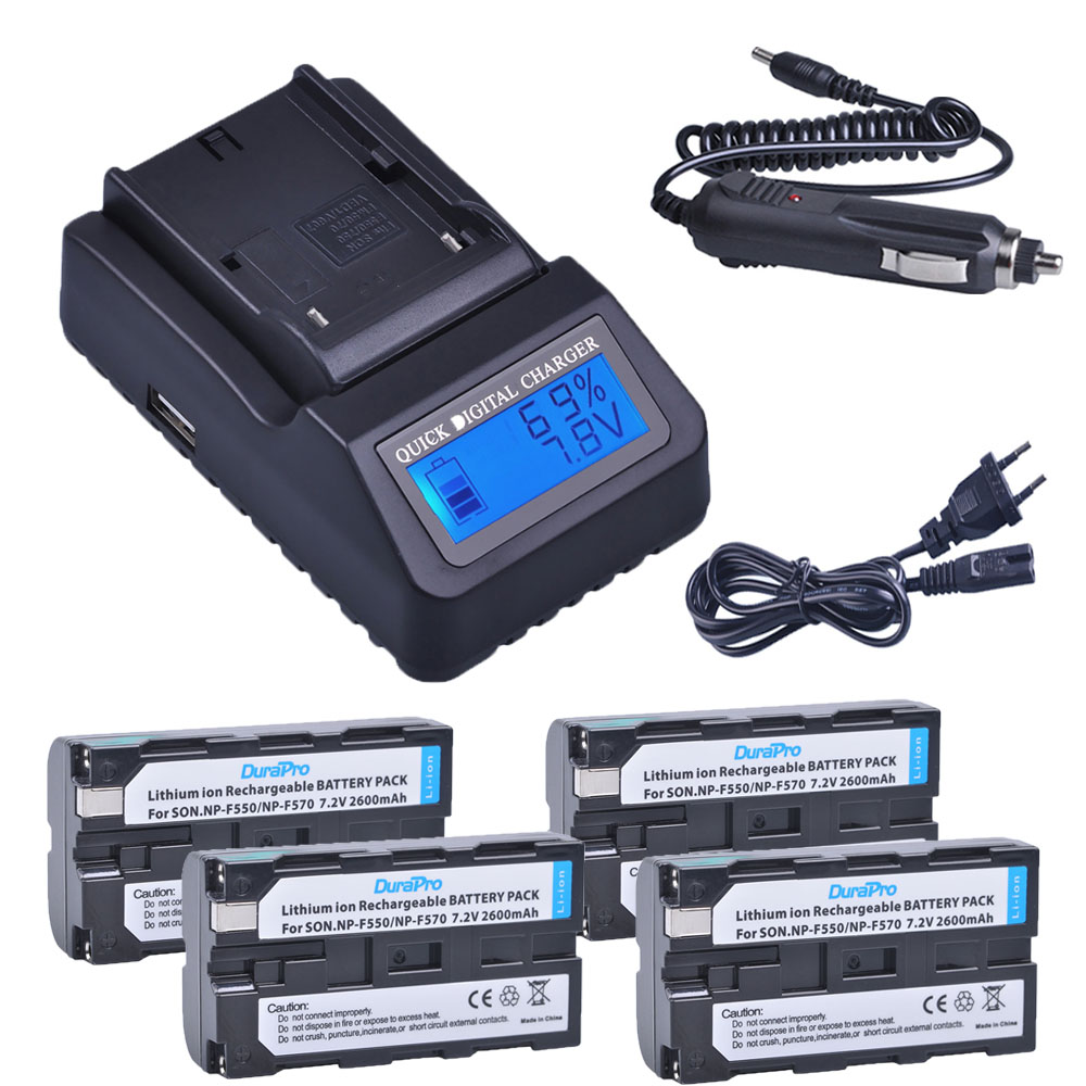 4pc NP-F550 NP-F570 NP F550 F570 Rechargeable Li-ion Battery + LCD Quick Charger for Sony CCD-SC55 CCD-TRV81 DCR-TRV210 MVC-FD81 durapro 4pcs np f970 np f960 npf960 npf970 battery lcd fast dual charger for sony hvr hd1000 v1j ccd trv26e dcr tr8000 plm a55