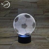 현대 아크릴 abs 3d 환상 축구 밤 램프 크리 에이 티브 축구 밤 빛 스위치 침실 침대 옆 바 호텔에 대 한 usb