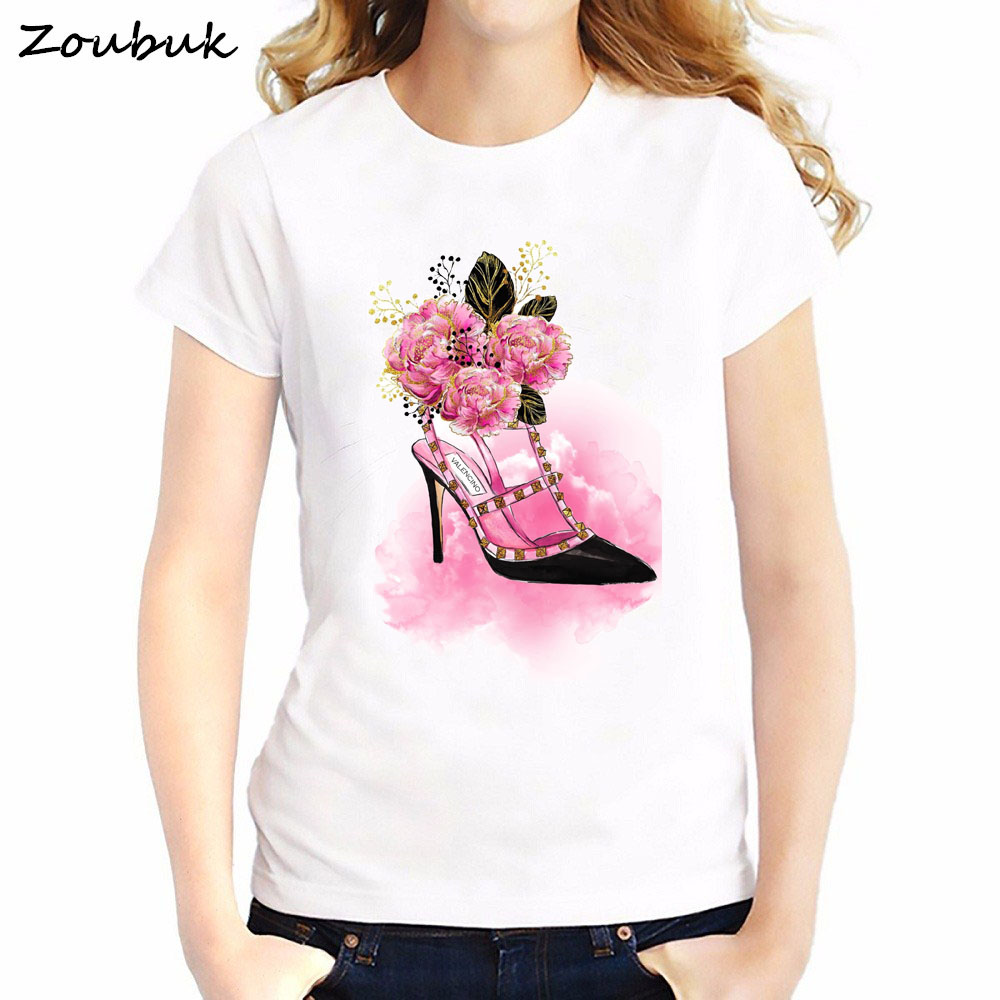 Süß GehäRtet 2018 Vogue Rosa Blumen High Heels T-shirt Sommer Mode Frauen T Shirts Weiß Oansatz Dünne Gedruckt Sommer Tops T Shirt Femme Neueste Technik Frauen Kleidung & Zubehör
