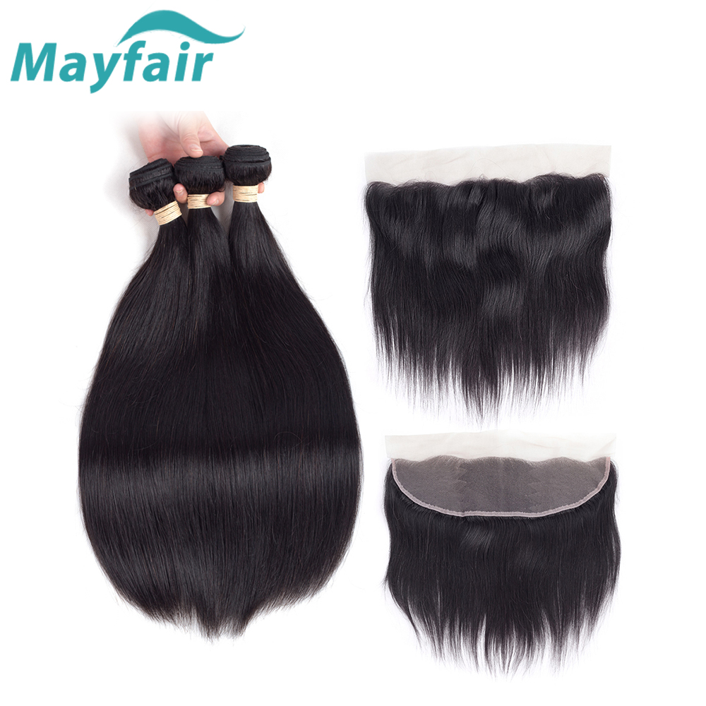 Mayfair Hair Straight Hair With Frontal Closure Brazilian Hair Weave Bundles With Frontal Human Hair 3 Bundles With Frontal