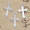 30 шт амулеты цветок крест 16x25 мм античные серебряные цветные Подвески DIY Ожерелье ремесла делая результаты ручной работы тибетские ювелирны...
