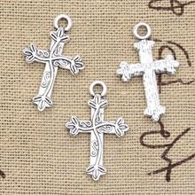 30 pçs encantos flor cruz 16x25mm antigo prata cor pingentes diy colar artesanato fazendo descobertas artesanal tibetano jóias