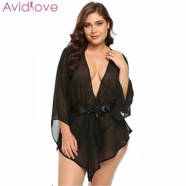 f732ea4ec4 Avidlove Plus Size Transparent Lace Robe Women Babydoll Lingerie Sexy Hot  Erotic Sex Costumes Kimono Bathrobe Dressing Gown