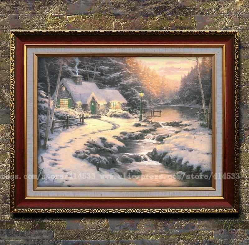 Prints of thomas kinkade oil painting evening glow snow - Home interiors thomas kinkade prints ...