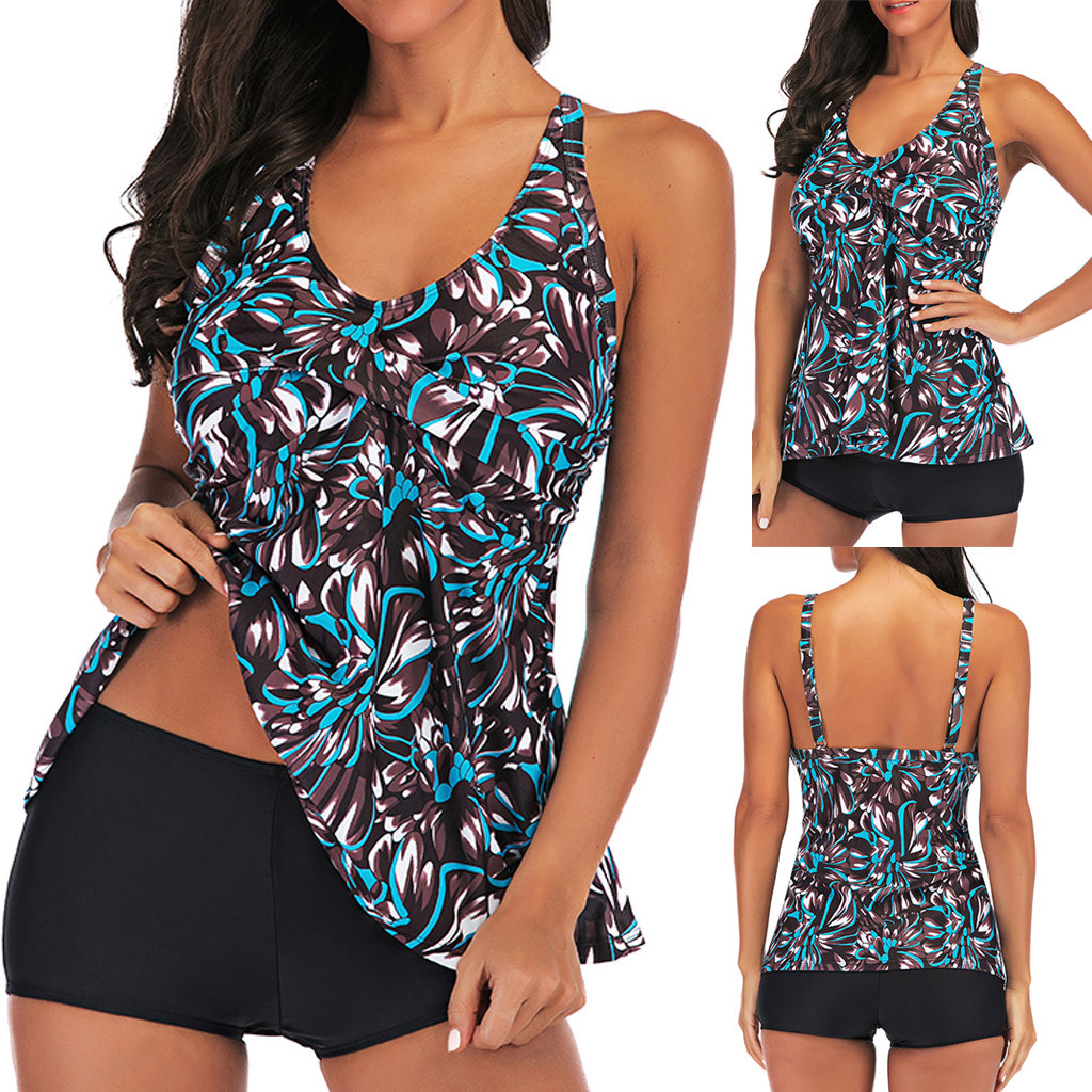 Bikini Swimwear 2019 Women Plus Size Print Tankini Swimjupmsuit Swimsuit Beachwear Padded Swimwear Bikini Girl Beach Wear 25