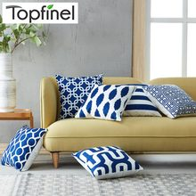 Topfinel Geometric Decorative Throw Pillow Cases Cushion Covers For Sofa Seat Office Chair Microfiber Decorative 45x45 NavyBlue(China)