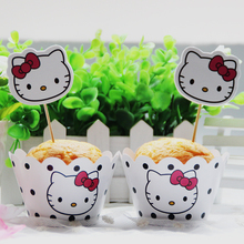 Hello Kitty Cupcake Wrappers Toppers