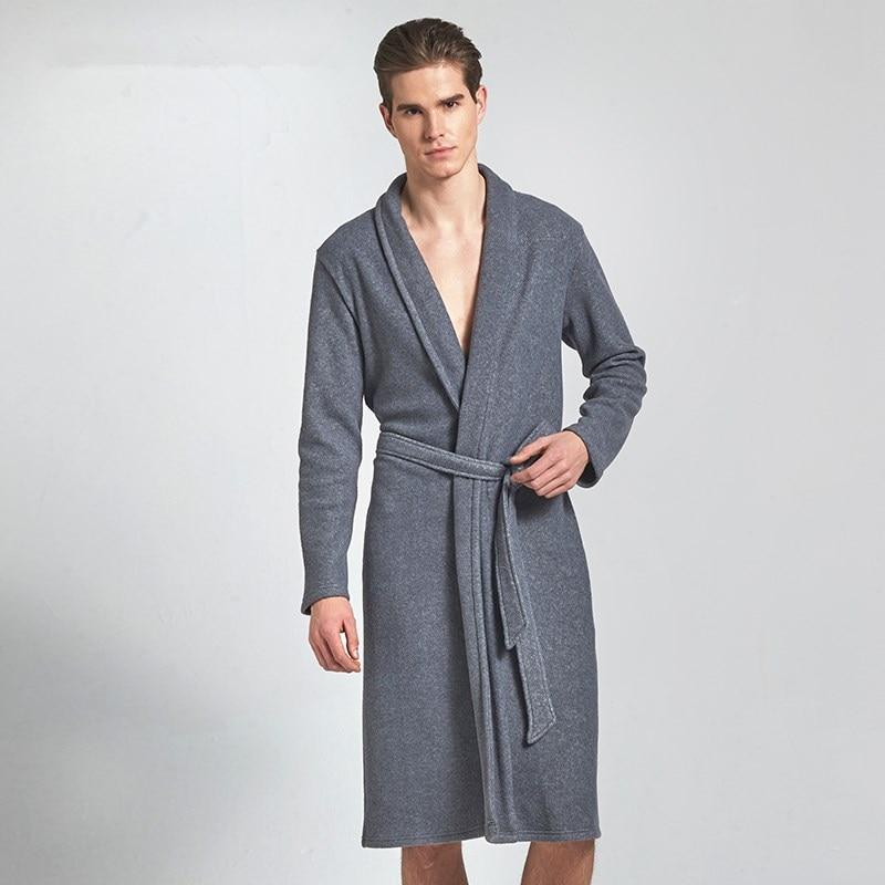 Autumn mens bathrobe solid polar fleece home bathrobes men