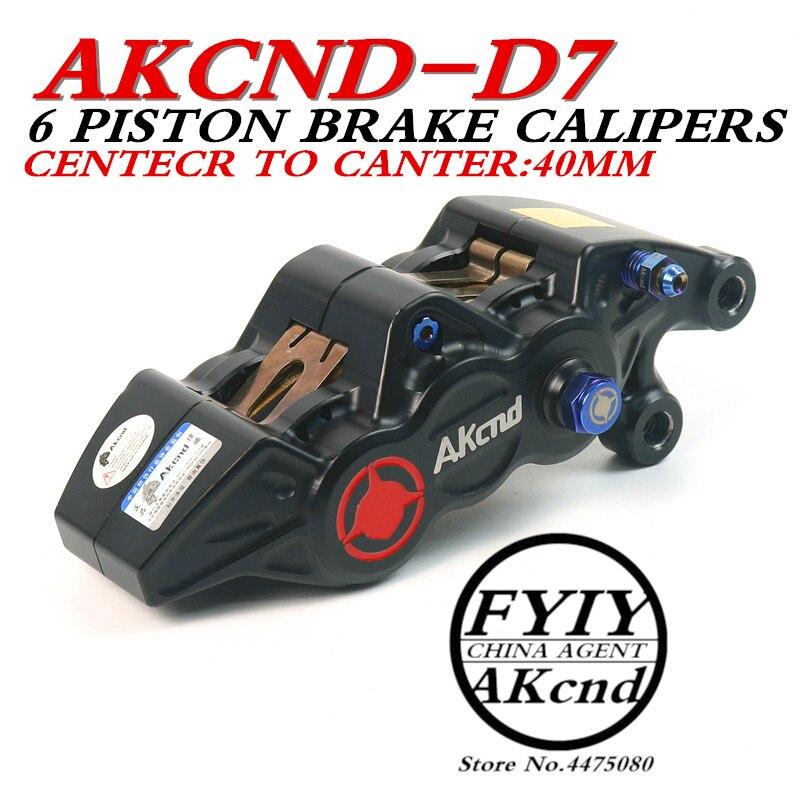 AKCND мотоцикл 6 поршневых тормозных суппортов алюминиевый сплав ЧПУ Гидравлический дисковый тормоз 40 мм центр для smax bws aerox nmax155