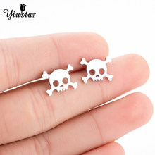 Yiustar Fashion Cute Skeleton Earrings for Women Girls Stainless Steel Stud Earring Femme Jewlery Halloween Kids Ear Studs Gifts(China)