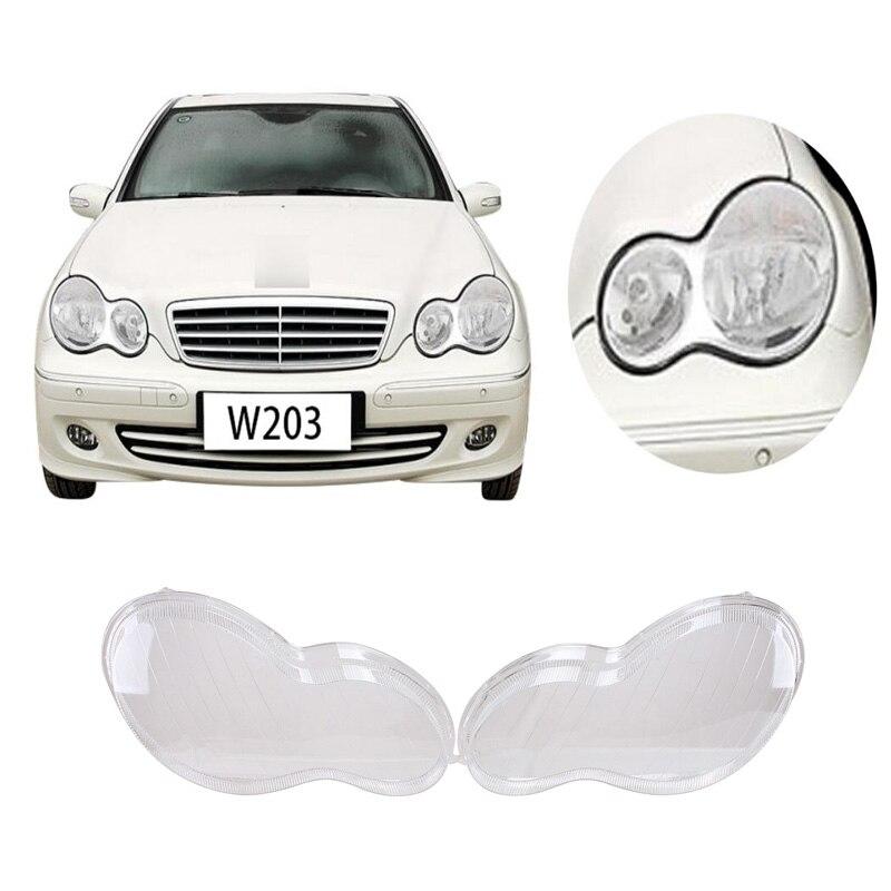1 pair Transparent Housing Headlight Lens Plastic Shell Cover For Mercedes Benz W203 C-Class C230 C280 C350 2001-2007 Lamp C/5 pair car front headlamp clear lens headlight plastic shell clear cover for bmw e90 e91 2004 2005 2006 2007