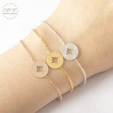 Ancient Jewelry Gold Compass Charm Survival Bracelet Bileklik Erkek Gifts For Women Stainless Steel Chain Pulseira Masculina