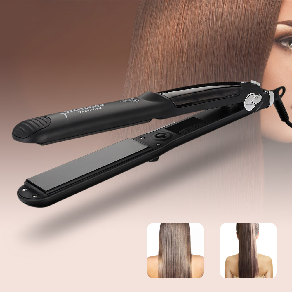 Professional Hair Straightener Ceramic Flat Iron Hair Straightening Products Electric Fast Steam Hair Straightener Styler titanium plates hair straightener lcd display straightening iron mch fast heating curling iron flat iron salon styling tools