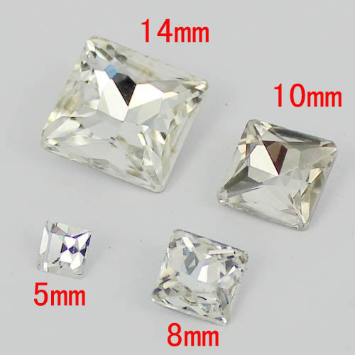 Square with vertical angle crystal color Crystal Silver Shade stones square shape point back free shipping many sizes to choose