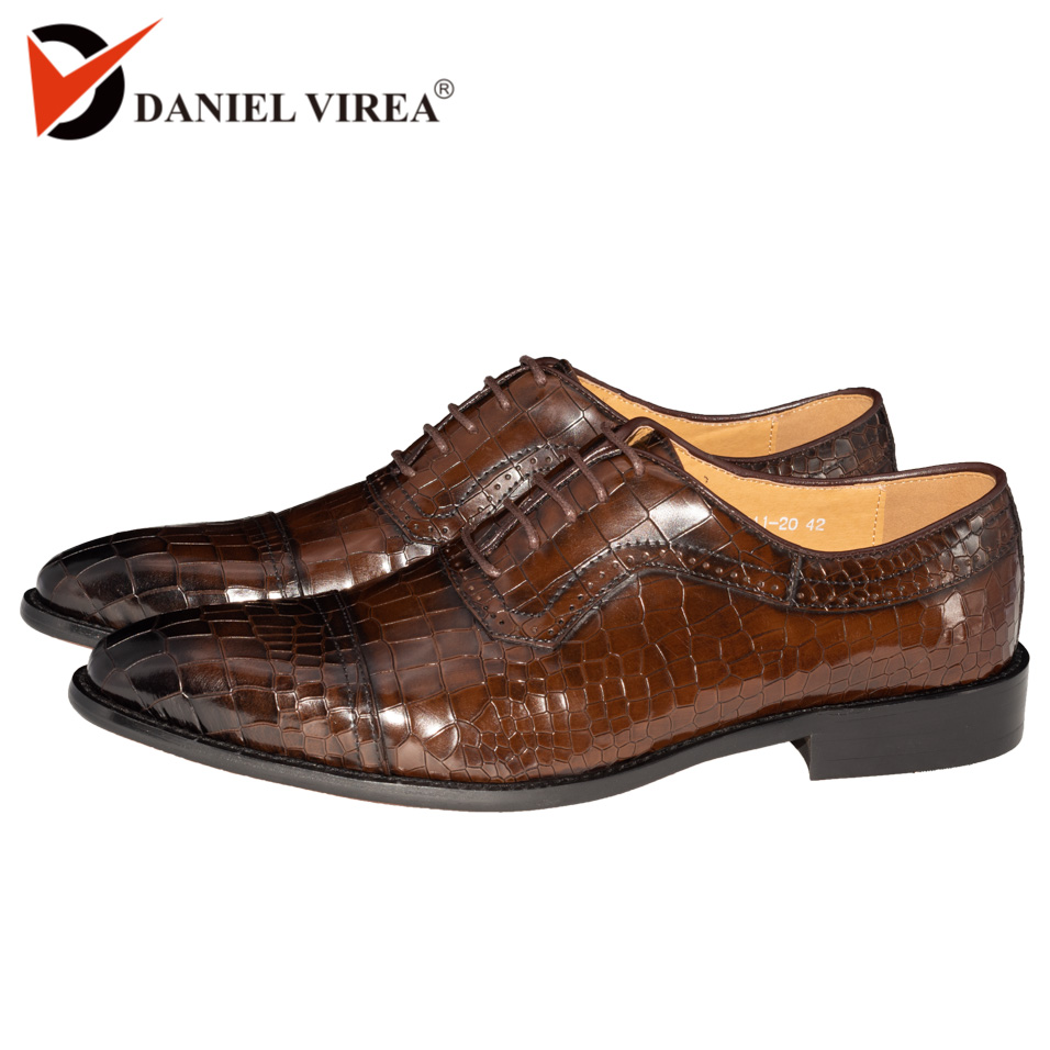 Men Dress Oxfords Shoes Genuine Leather Dark Coffee Color Luxury Brand Office Formal Pointed Toe Fashion Plaid Mens Wedding Shoe-in Formal Shoes from Shoes    1